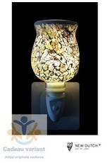 New Dutch Stekkerlamp mozaiek zilver grijs bruin
