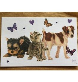 Francien van Westering Honden poes vlinders wenskaart