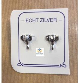 Olifant  oorstekers zilver