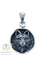 Wolf kop zilveren hanger