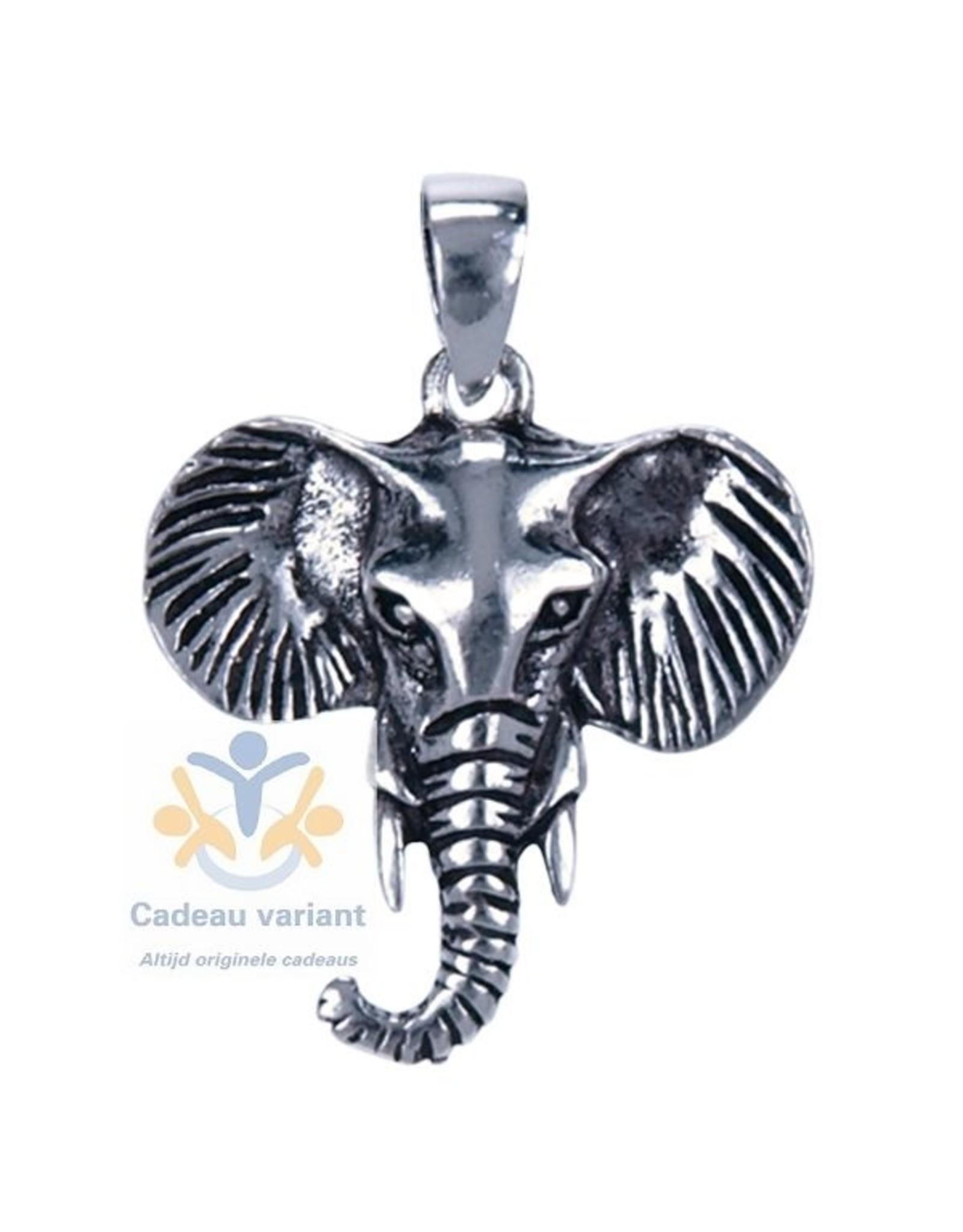 Olifant  kop hanger zilver