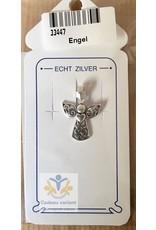 Engel hart vasthoudend hanger zilver