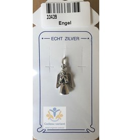 Engel biddend hanger zilver