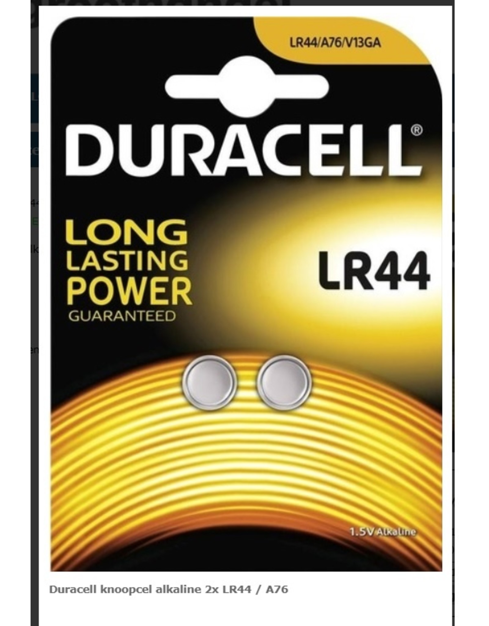 Duracell  Duracell knoopcel LR44 2 stuks