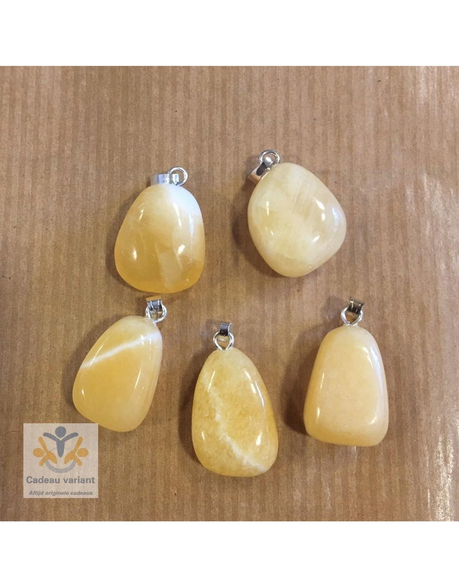 Calciet edelsteen hanger geel-oranje
