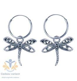 Libelle oorringen zilver