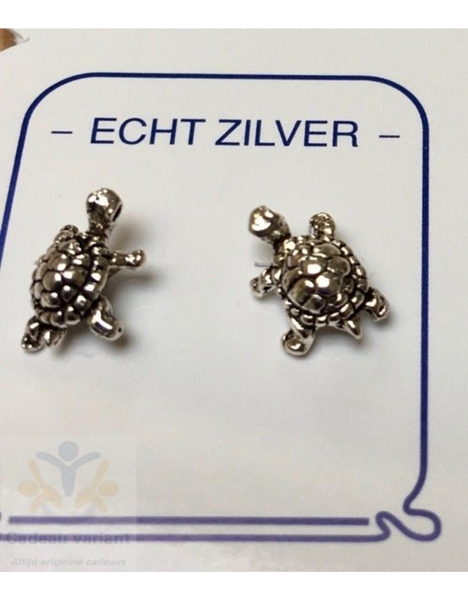 Schildpad oorbellen zilver