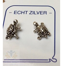 Schildpad oorbellen zilver (oorsteker)