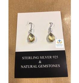 Citrien edelsteen oorbellen zilver