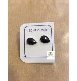 Onyx oorstekers zilver