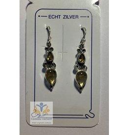 Citrien edelsteen oorbellen lang zilver