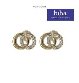 Biba Oorbellen Biba knopjes goud crystal