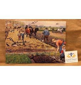 Briefkaart nostalgie werken op het land