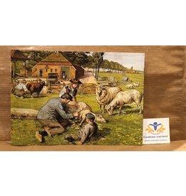 Briefkaart nostalgie schapen scheren