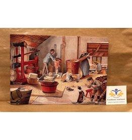 Briefkaart nostalgie kaas maken