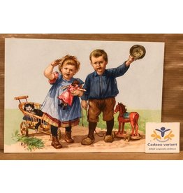 Briefkaart Ot en Sien zwaaien