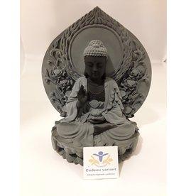 Boeddha Lotus zwart grijs