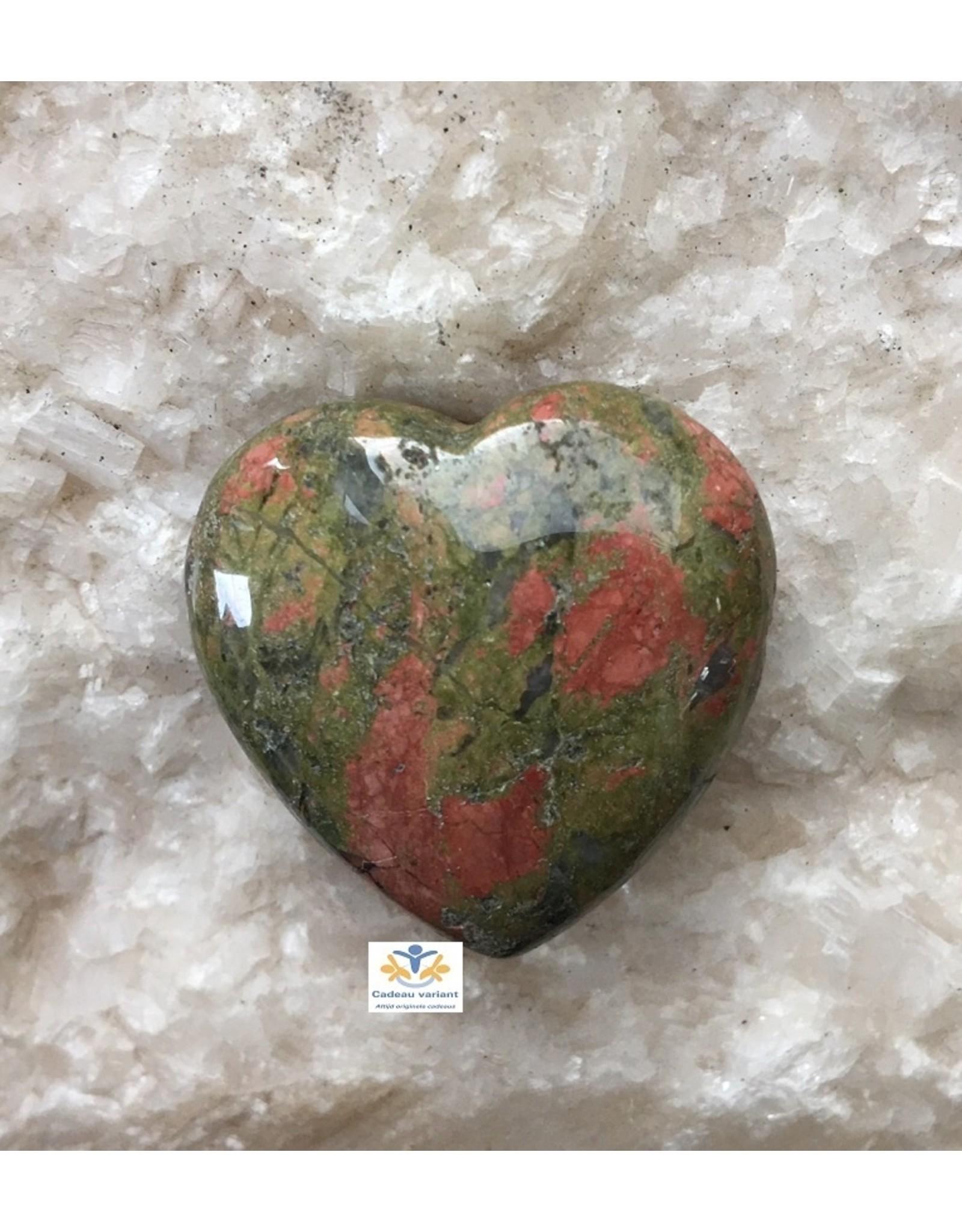 Unakiet edelsteen hart 3 cm