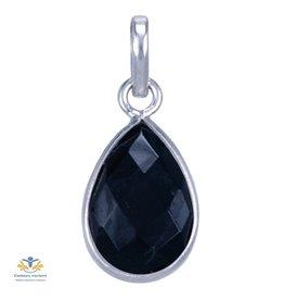 Onyx hanger zilver