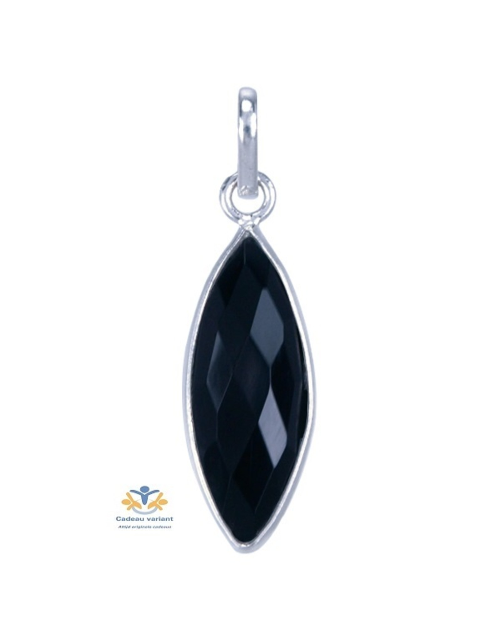 Onyx edelsteen hanger zilver