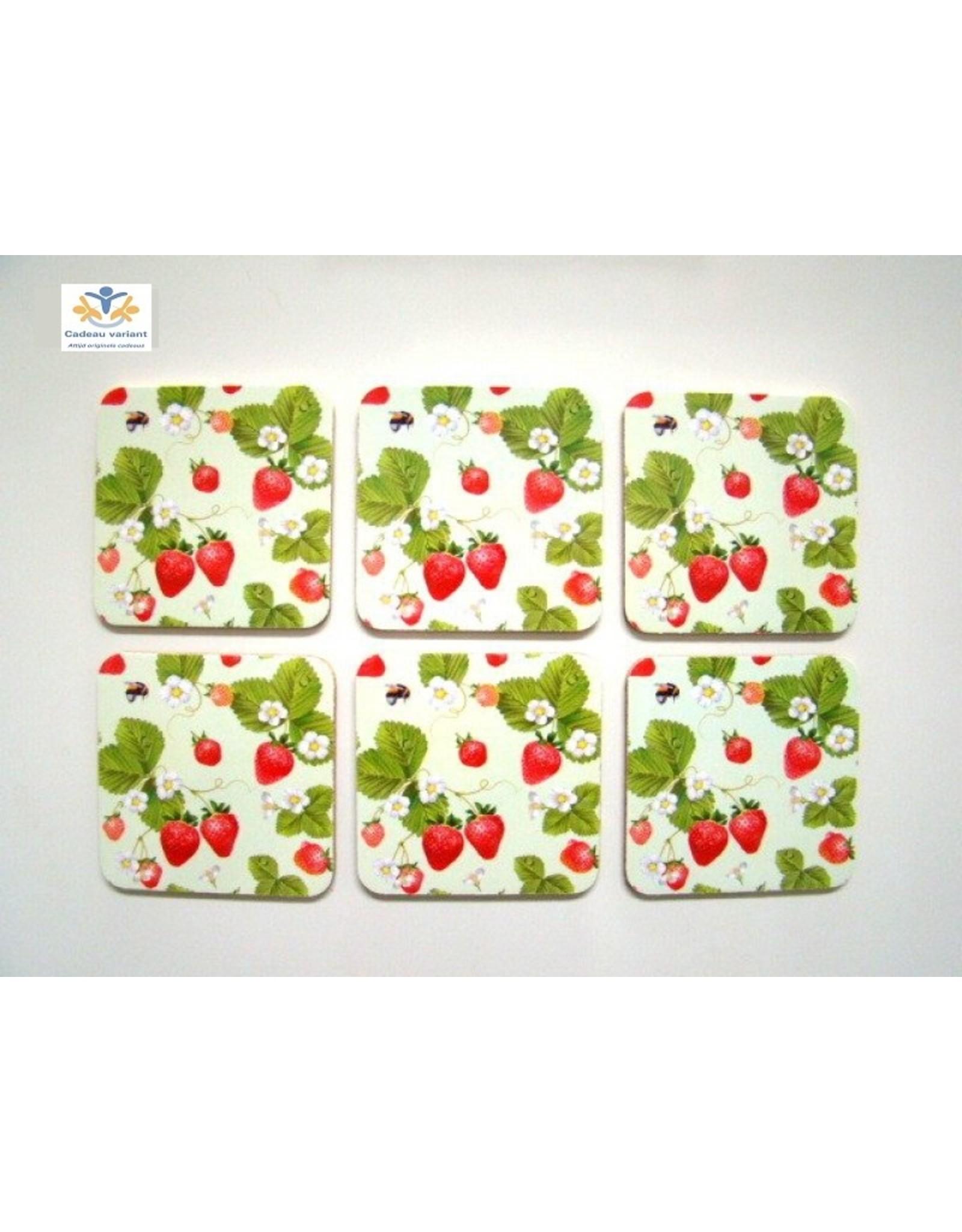Aardbeien onderzetters 6 stuks