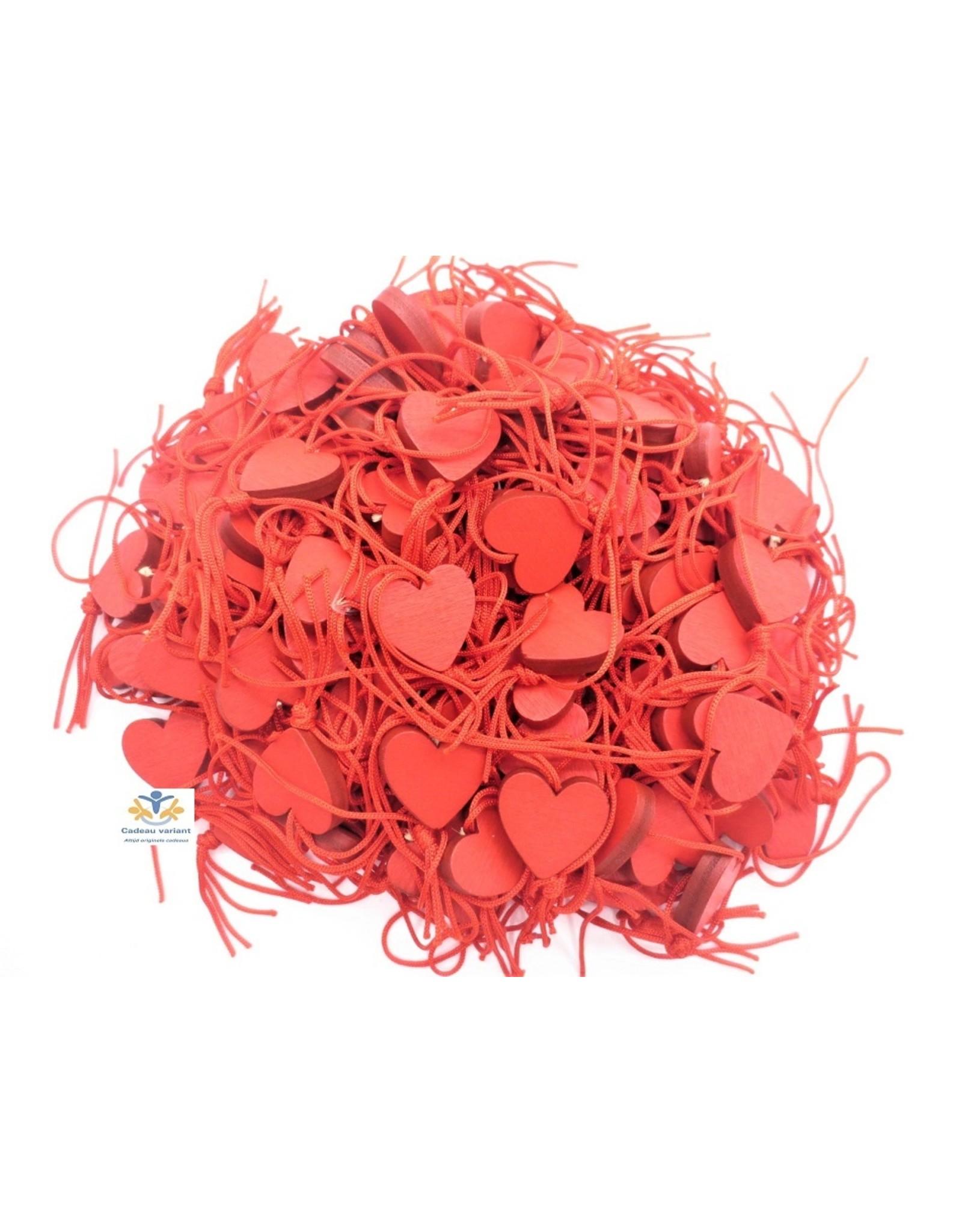 Hartje rood hanger hout (10 stuks)