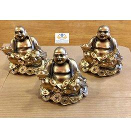 Klein Boeddha beeld schaal en munten