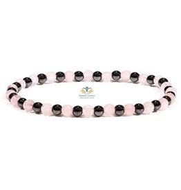 Armband rozenkwarts hematiet 4 mm