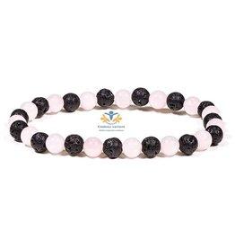 Rozenkwarts lava edelsteen armband