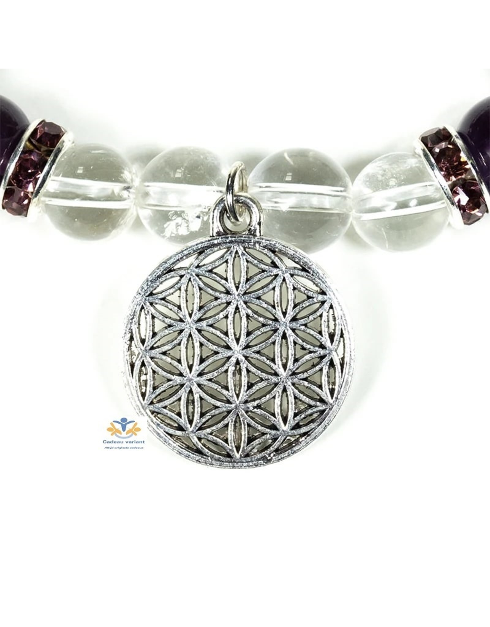 Bergkristal amethist armband 8 mm