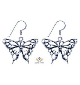 Vlinder zilver oorbellen