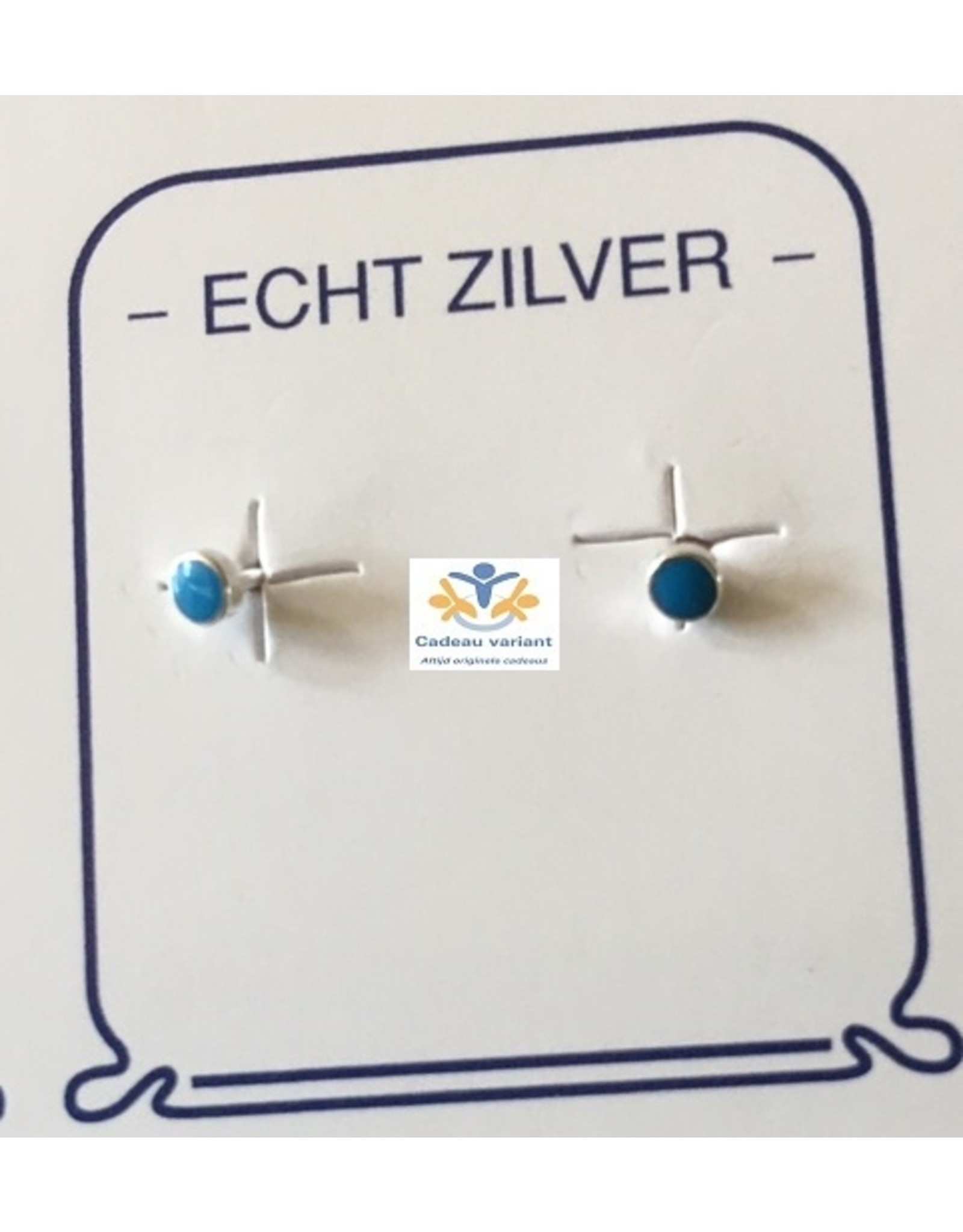 Turkoois mini oorbellen zilver rond