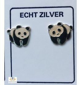 Panda oorbellen zilver (oorstekers)