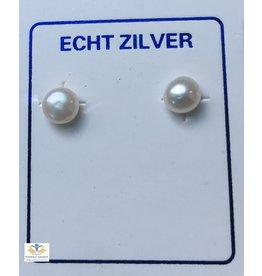 Parel oorbellen (oorstekers) zilver