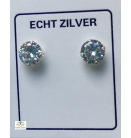 Zirkonia rond oorsteker zilver
