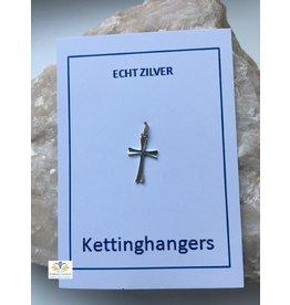 Kruis hanger zilver ronde uiteinden