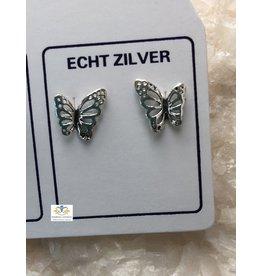 Vlinder oorbel zilver (oorsteker)