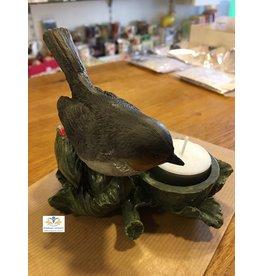 Vogel waxinelichthouder roodborst