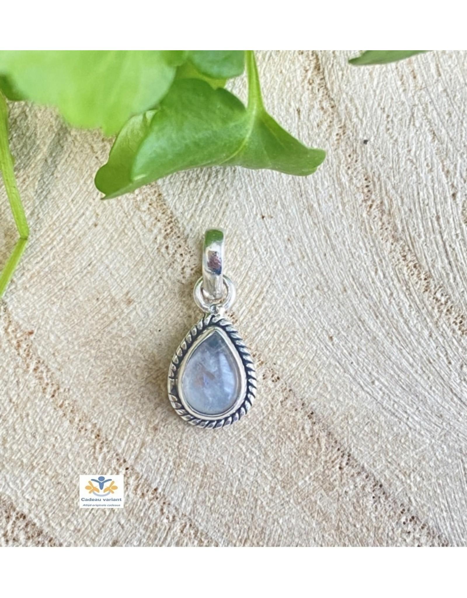 Maansteen regenboog edelsteen hanger zilver