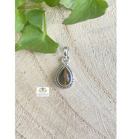 Tijgeroog edelsteen hanger zilver