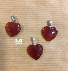 Carneool hart edelsteen hanger