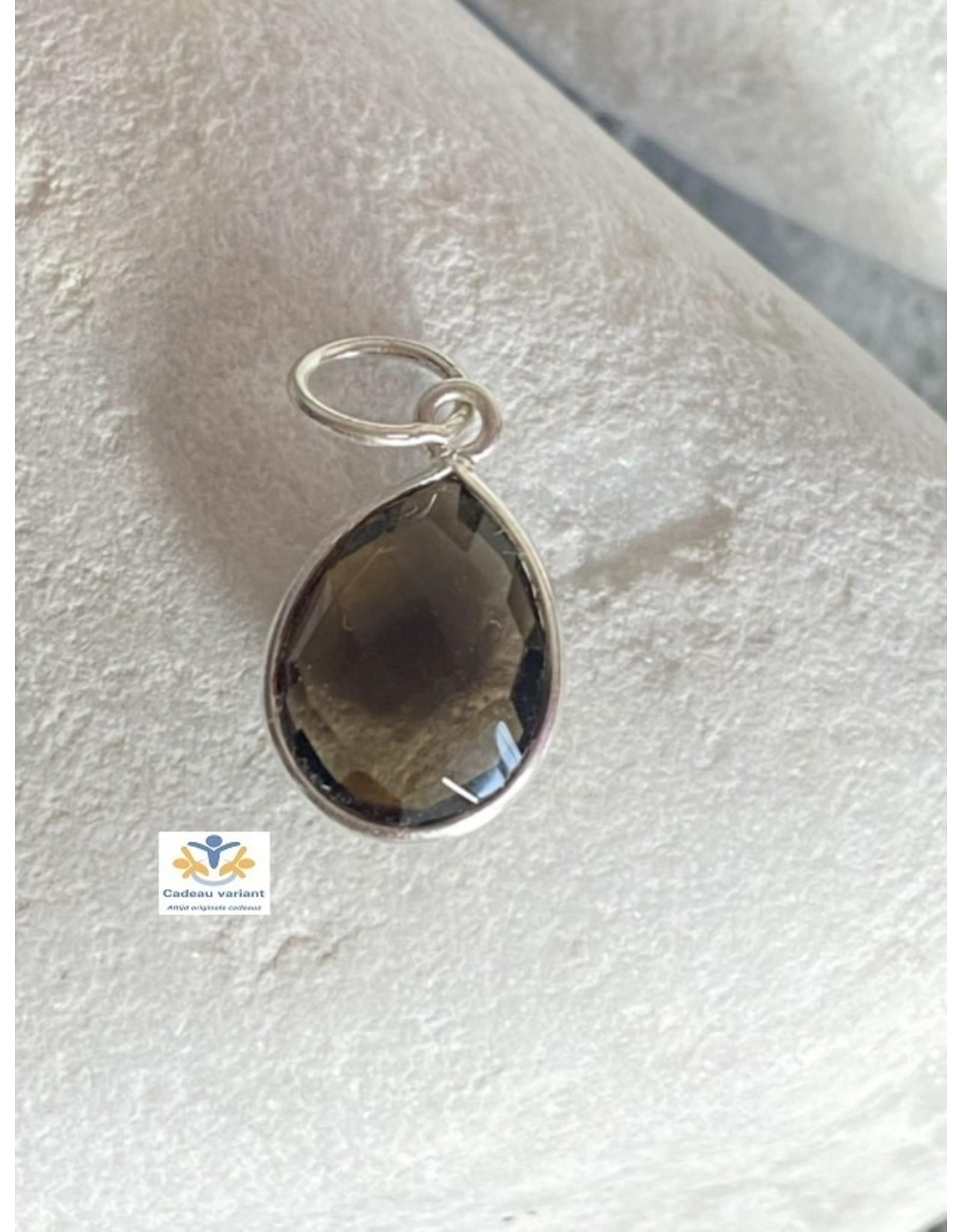 Rookkwarts edelsteen hanger zilver