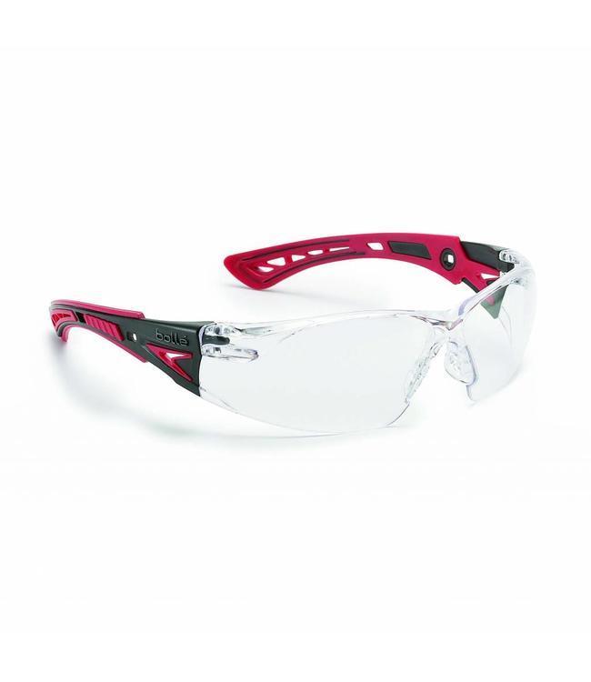 BOLLÉ Safety Bollé Safety Eyewear Model Rush Platinum Red Clear Lens