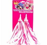 Pex kids streamers roze-witte franje