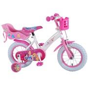 Disney Princess meisjesfiets 12 inch Roze met Poppenzitje