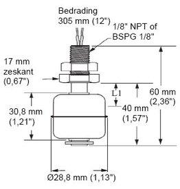 Mini Ball Vertical Float Level Switch LS Series 150cm