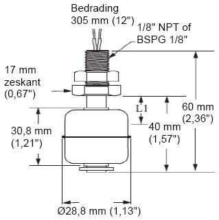 Mini Ball Vertical Float Level Switch LS Series 30cm