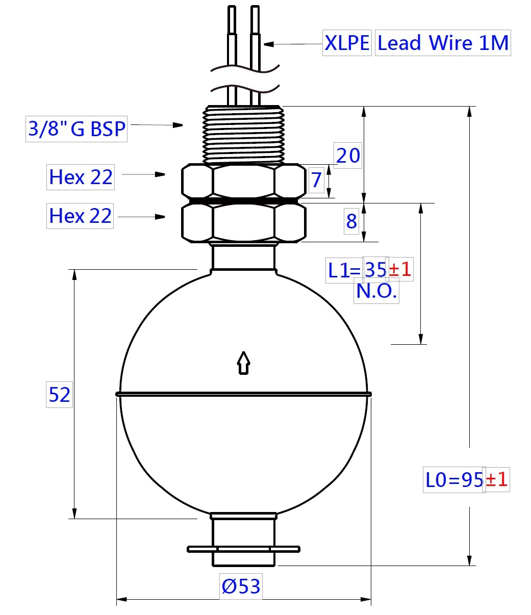 Vertical Mini Ball Float Level Switch, series LCN