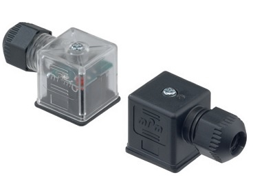 MOLEX DIN valve connectors with improved strain relief