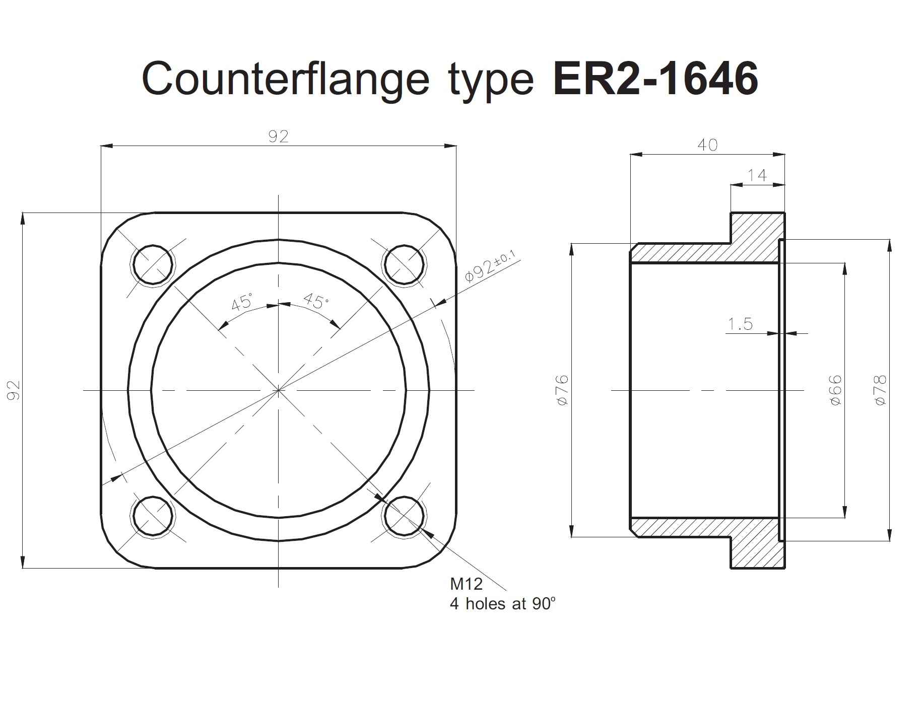 Square counter flange 92x92 for ERH Series